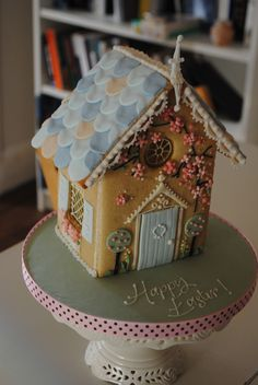 Easter gingerbread house but would be just as cute for Christmas