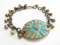 Radiant Heart Bracelet Artisan Stoneware Rustic Turquoise Copper Bracelet Handmade Artisan Jewelry Earthy Bracelet    A beautiful, natural and rustic