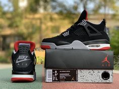 """best sneakers 3d033 5f8dc 2019 Air Jordan 4 """"Bred"""" Black Cement Grey-Summit White-Fire Red 308497-060"""