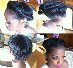 African American Hair Tips & Tricks ~ Goddess Braid. Stunning, this is a great protective style and a great time to hydrate your hair with Silky Hair Butters by BareIndulgence. Love Hair, Great Hair, Gorgeous Hair, Natural Hair Inspiration, Natural Hair Tips, Natural Hair Styles, Pretty Hairstyles, Braided Hairstyles, Trending Hairstyles