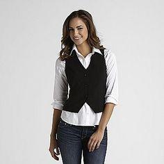 Women's Suit Vest with white shirt/jeans cute Black Suit Vest, Blue Slim Fit Suit, Unisex Clothes, Clothes For Women, Casual Clothes, Casual Chic, Vest Outfits, Poncho Outfit, Business Casual Outfits
