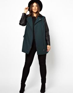 ASOS Curve | ASOS CURVE Exclusive Coat With Leather Look Sleeves at ASOS