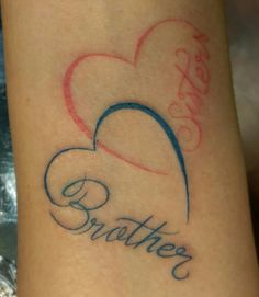 sister, brother, double heart