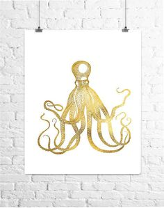 Octopus and Jellyfish Prints Beach Decor Gold by TheDigitalStudio
