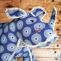 Africa Handmade Handcrafted Rhino plush toy – Shweshwe Fabric - Handmade in South Africa by Pr. Crafty Hobbies, African Crafts, African Fabric, Diy Doll, Sewing For Kids, Handmade Toys, Softies, South Africa, Plush