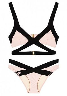 White-Black Color Block Bandage 2-in-1 swimwear.