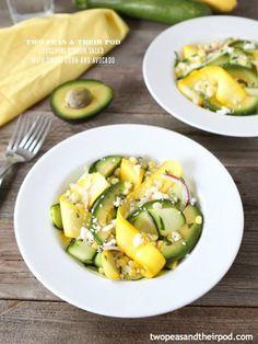 zucchini ribbon salad with sweet corn and avocado