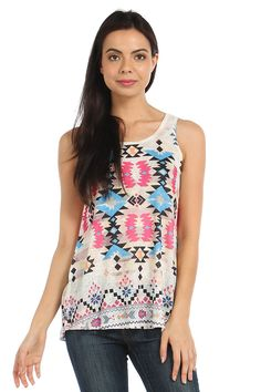 GANADO PRINT SLEEVELESS TOP