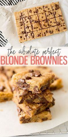 Blonde Brownie RecipeBlonde Brownies, AKA Blondies are a simple, easy rich dessert recipe. Similar to the classic chocolate brownies, Blondies are flavored vanilla instead of chocolate. Add in Chocolate chips for a fun twist, serve with ice cr Quick Dessert Recipes, Easy Desserts, Sweet Recipes, Cookie Recipes, Delicious Desserts, Easy Baking Recipes, Bar Recipes, Health Desserts, Vegan Recipes