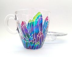 Floral drinking glass painted with green gradient leaves, plant lover gift, nature inspired gardening gift Mirror Wall Clock, Rainbow Bubbles, Hand Painted Walls, Tea Cup Set, Cupping Set, Paint Cans, Suncatchers, Crystals And Gemstones, Cup And Saucer