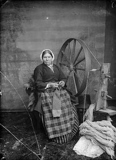 Woman at spinning wheel, John Thomas (1838-1905) Wales