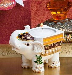 0172c46fd06 White Good Luck Indian Elephant Candle Holder