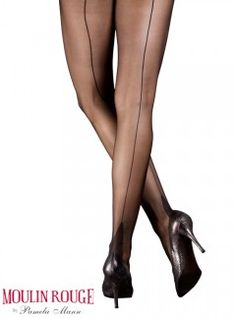 Impression Moulin Rouge High Heels Tights, $16, Natural w/ Natural seam, Black & Navy. From UK,$6 ship. ALady. Hose, thights and more - MyTights.com - The Online Hosiery Store
