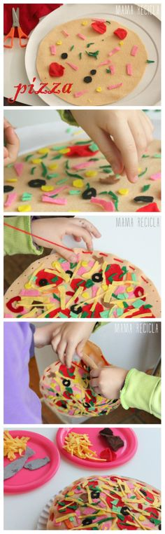 Felt pizza - mama recicla Felt Food, New Toys, Sewing Patterns, Mexican, Pizza, Ethnic Recipes, School, Fabric, Inspiration