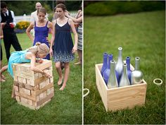 Lawn Games... giant jenga  ring toss made from painted bottles