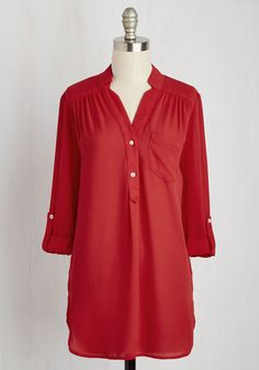Pam Breeze-ly Tunic in Tomato - Red, Solid, Buttons, Pockets, 3/4 Sleeve, Casual, Sheer, Best Seller, V Neck, Variation, Basic, Chiffon, Woven, Long, Spring, Valentine's, Work, Tab Sleeve, Red, Maternity, Good, 4th of July Sale, Americana, Colorsplash