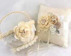 ***Made Upon Request- This flower girl basket and ring pillow set can be made in ANY color scheme.    This is luxurious vintage-inspired and shabby-chic