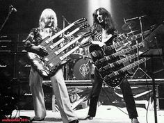 Alex Lifeson and Geddy Lee, from Rush, rocking the quad-neck's [Late - Early : OldSchoolCool Great Bands, Cool Bands, Rock N Roll, Rock And Roll Bands, Rock Rock, Heavy Metal, Beatles, Rush Concert, Rush Band