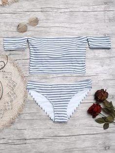 5223b52caaf1b Bikini A Rayas De Manga Corta Con Hombros Descubiertos - Gris Y Negro S  Striped Bikini