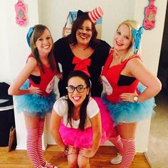 Group Halloween costumes cat in the hat theme  Cat in the hat Thing 1  Thing 2  Sally  Group costume  Halloween  Cute