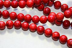 Red Turquoise Magnesite 10mm Round Beads 15 1/2 by sedonastonesllc