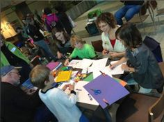 Drawing with kids at the Seattle Convention Center.