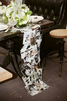 Cute idea for anniversary party.maybe if shorter & laminated could be used as a kind of drape for the table 50th Wedding Anniversary, Anniversary Parties, Anniversary Ideas, Memory Table, Festa Party, Deco Table, Wedding Table, Party Wedding, Wedding Gifts