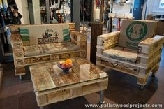 Pallet Couches with Table