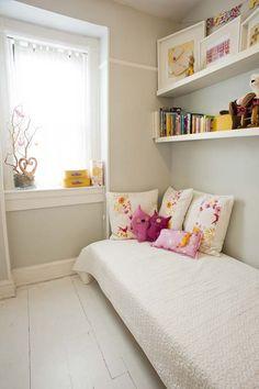 sweet pink, yellow, gray little girl room.  BM alaskan husky.  ikea quilt.  saffron craig fabric