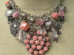 TREASURY+ITEM...Pink+and+Silver+Hearts+and+by+renewedheirlooms,+$258.00