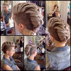This looks super cool Buzzed sides, 'mohawk' braid - I'll be doing this to my hair once it grows back out, which is going to be a while! Braided Mohawk Hairstyles, Mohawk Braid, Top Hairstyles, Pretty Hairstyles, Easy Hairstyle, Bridal Hairstyle, Braided Hair, Hairstyle Ideas, Short Hair Cuts