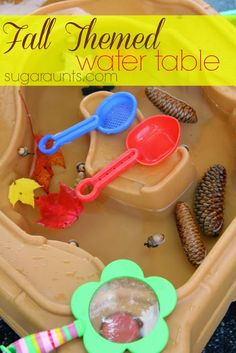 Fall Nature hunt finds in the water table.  Will they float? #fall #waterplay