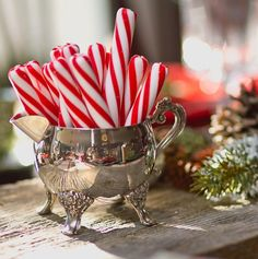 candy canes in silver for a Christmas tea party
