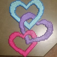 Hearts perler beads by aurora.rose17
