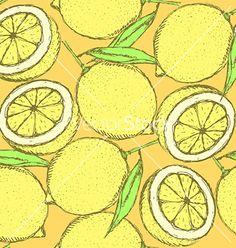 Sketch juicy lemon in vintage style vector pattern - by kali13 on VectorStock®