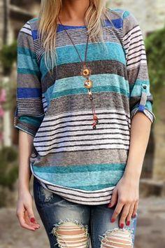 Stylish Jewel Neck Long Sleeve Striped Asymmetrical Women's T-Shirt T-Shirts   RoseGal.com Mobile