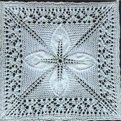 Free knitting pattern for a counterpane motif knit in the round with leaves and a lace border. Updated for modern knitters and test knit. Lace Knitting Patterns, Knitting Stitches, Free Knitting, Baby Knitting, Stitch Patterns, Knitted Afghans, Knitted Baby Blankets, Crochet Motif, Square Quilt