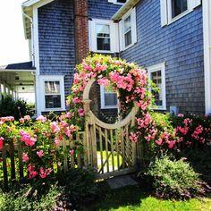 A Rose-covered Cottage Beats Rodin, Rilke, Shaw & the Art Market, any day! Nantucket Style, Nantucket Island, Garden Junk, Garden Gates, Rose Cottage, Cottage Style, Beyond The Sea, Romantic Cottage, Barbie Dream House