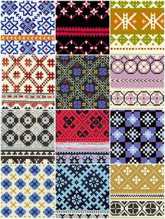 Latvian mitten patterns.