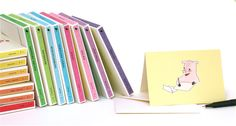Rainbow boxes!  Folded Note Cards