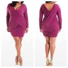 Criss Cross Draped Dress by Nkesh Collection on CurvyMarket.com