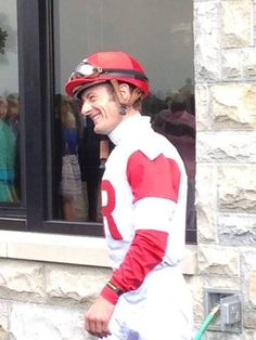 Julien Leparoux after his win aboard All Alex in the first race Saturday at Keeneland.
