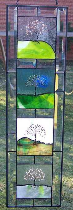 Four Seasons Stained Glass Panel  Pearl by dreamglasscreations, $375.00