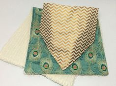 Gold chevron and Peacock Feathers baby by purposefulindulgence