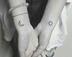 50 Simple Tattoos for Women These are two different tattoos one on each hand. The crescent moon is drawn on the wrist of the right hand and a sun on the left wrist. This is a simple yet very abstract tattoo. Source by tattooeasily Mini Tattoos, Sister Tattoos, Friend Tattoos, Wrist Tattoos, Body Art Tattoos, Small Tattoos, Tatoos, Easy Tattoos, Hand Tattoo Small