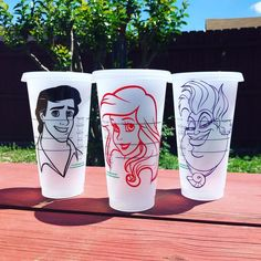 Personalized Starbucks Cups, Venti Starbucks Cups, Disney Theme Starbucks, Ariel, The Little Mermaid Starbucks Tumbler Cup, Starbucks Cup Art, Disney Starbucks, Starbucks Venti, Personalized Starbucks Cup, Custom Starbucks Cup, Personalized Cups, Coffee Cup Art, Disney Cups