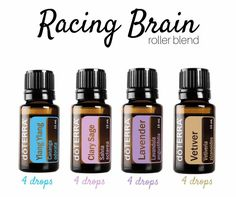 Feel like your mind is going a million miles a second? Need help slowing it down? This roller blend is just what you need! In a 10mL glass roller bottle add: 4 drops Ylang Ylang 4 drops Clary Sage 4 drops Lavender 4 drops Vetiver Top off with Fractionated Coconut oil.