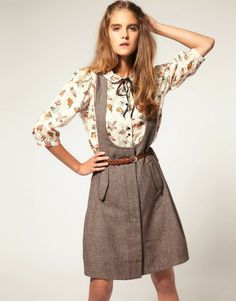 I must remake this somehow.........  Asos Mini Dress with Button Front Pinafore - Lyst