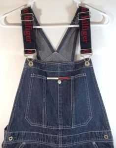 2e0fcb891a9 Tommy Hilfiger Bib Overall Shorts S Spell Out Straps Vintage 90 s