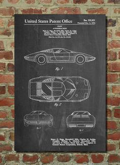 Corvette 70's Model Patent Art Print, Patent Art, Blueprint, Patent Print, PatentPrints